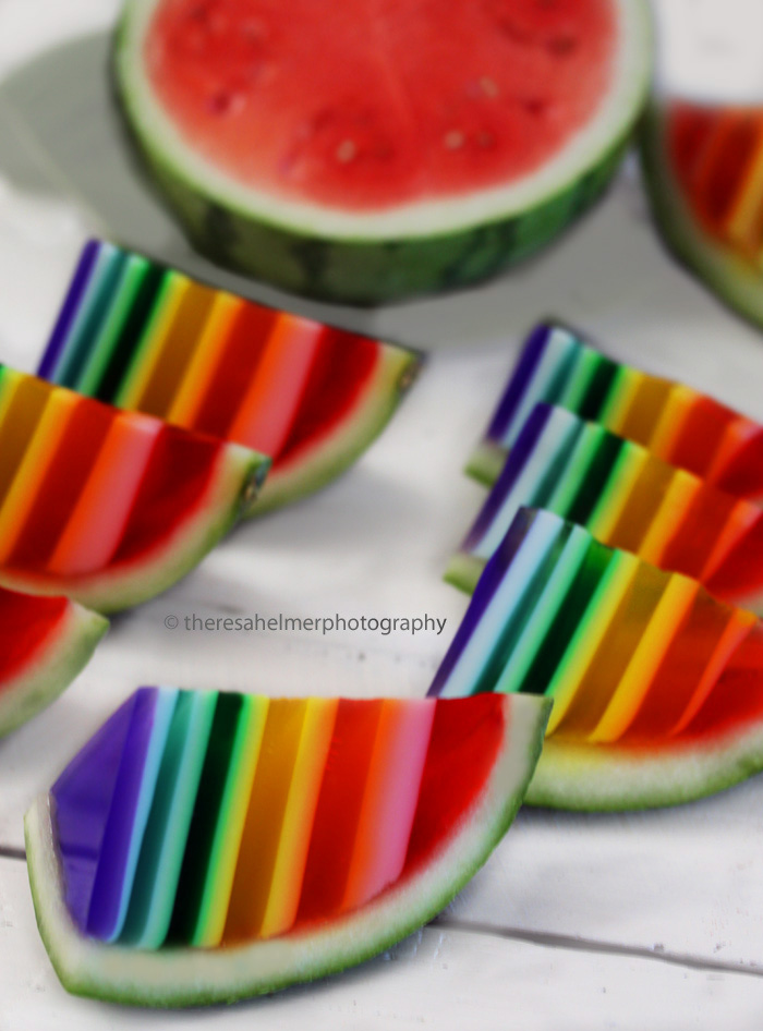 Rainbow Jello In Watermelon Shell by theresahelmer