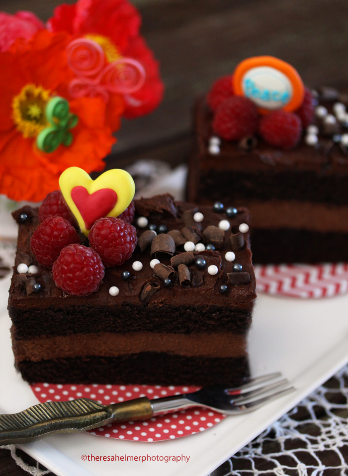 Chocolate Chocolate Cake w/ fresh Raspberries by theresahelmer