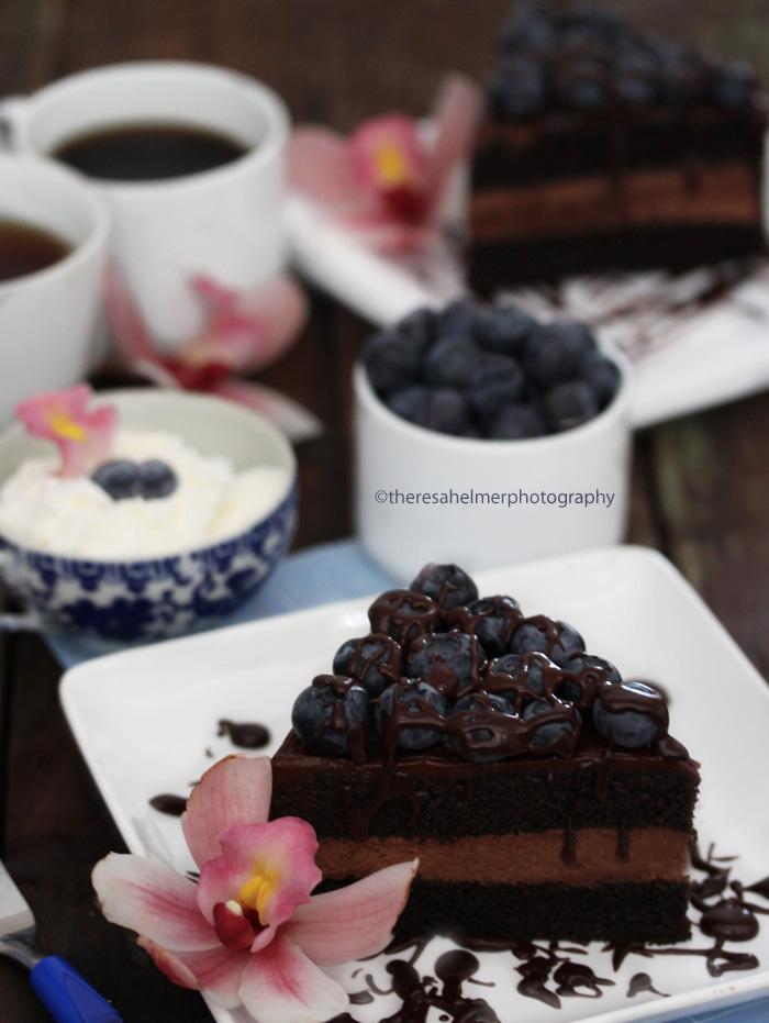 Chocolate Fudge Cake w/ Fresh Blueberries by theresahelmer