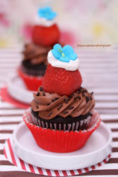 Chocolate Cupcakes w/ Fresh Strawberries n Cream by theresahelmer