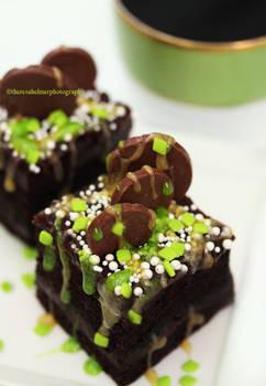 Dark Chocolate Cake w/ Mint n Caramel Sauce