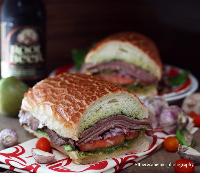 Roast Beef Sandwich on Dutch Crunch Roll by theresahelmer