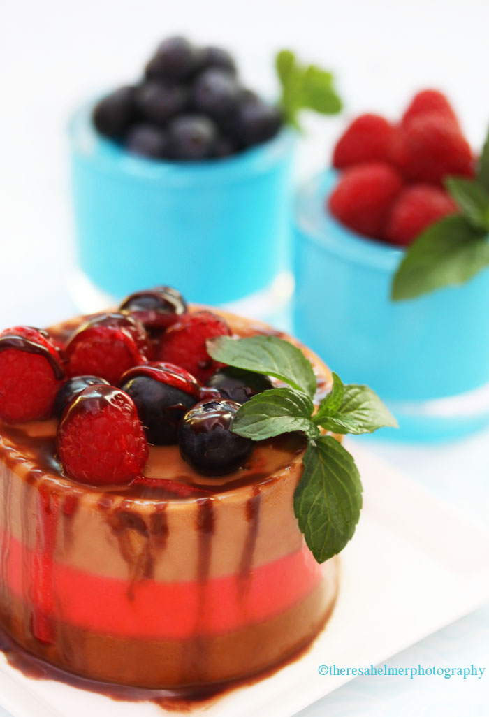 Triple Mousse w/ Berries and Chocolate Mint Sauce by theresahelmer
