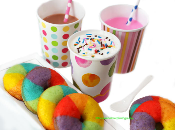Mini Rainbow Donuts w/ Chocolate n Strawberry Milk by theresahelmer