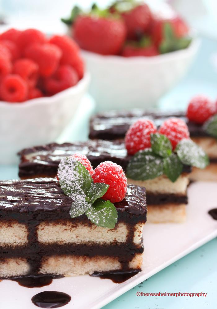 Fudge Vanilla Cake w/ Raspberries by theresahelmer