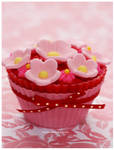 Strawberry Cupcake w/ Pink Fondant Flowers