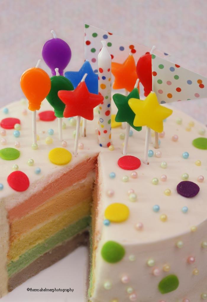Pastel Rainbow Birthday Cake by theresahelmer