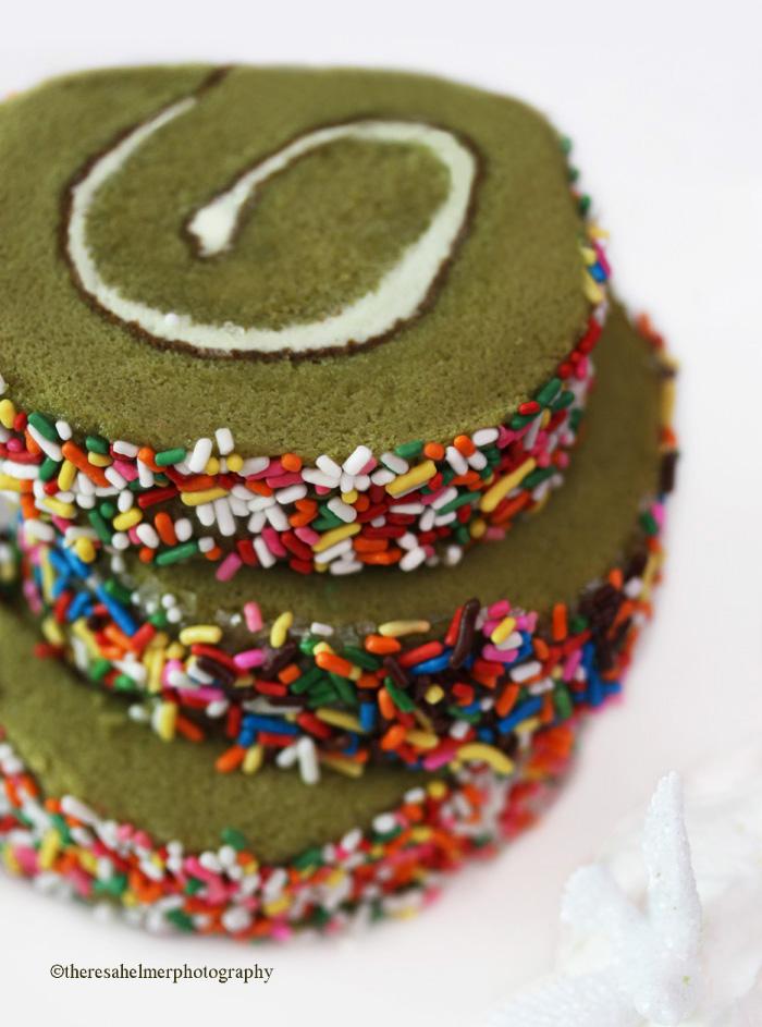 Japanese Green Tea Roll Cake w/ Sprinkles by theresahelmer