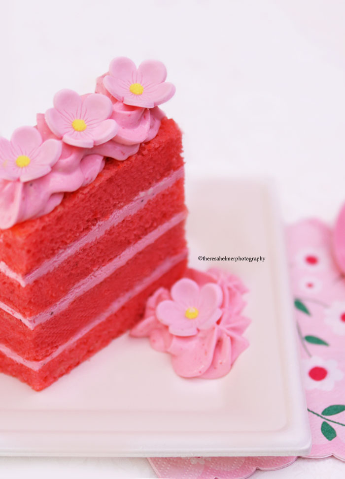Strawberry Cake with Fondant Flowers by theresahelmer