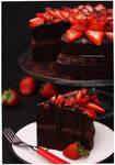Strawberry Dark Fudge Chocolate Therapy Cake by theresahelmer