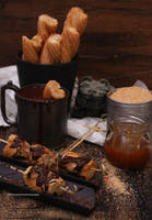 Churros w/ Mexican Chocolate/Caramel Sauces by theresahelmer