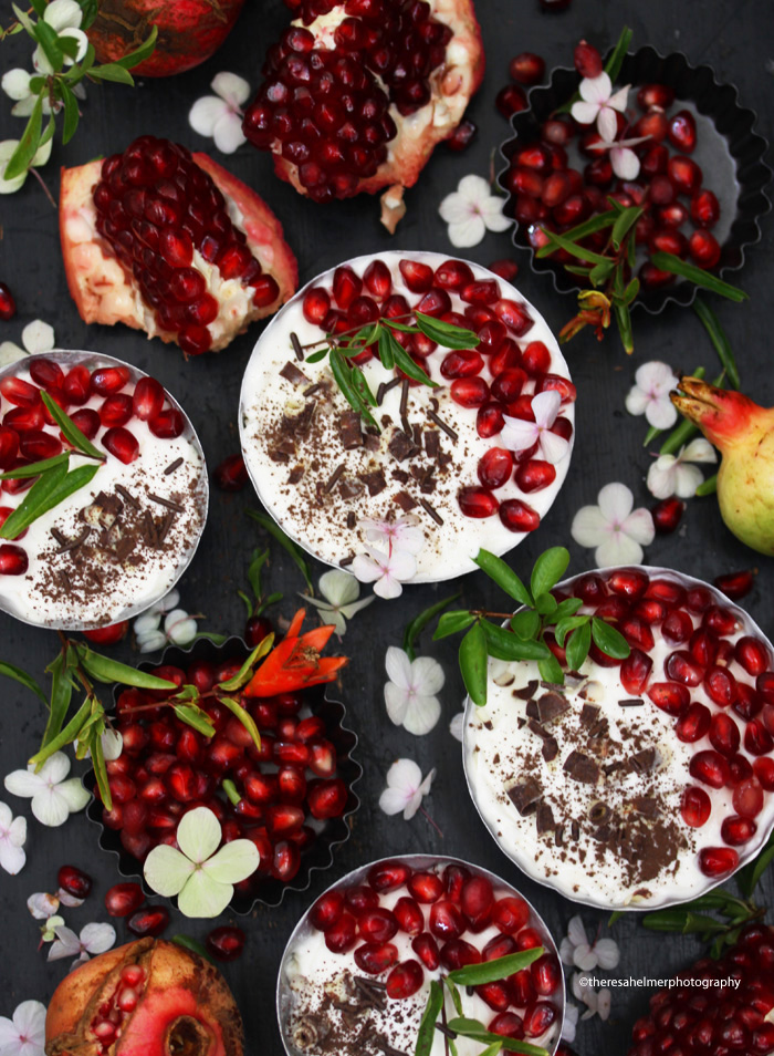 White Chocolate Mousse w/ Garden Pomegranate by theresahelmer