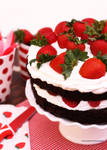 Triple Chocolate Cake w/ Fresh Strawberries