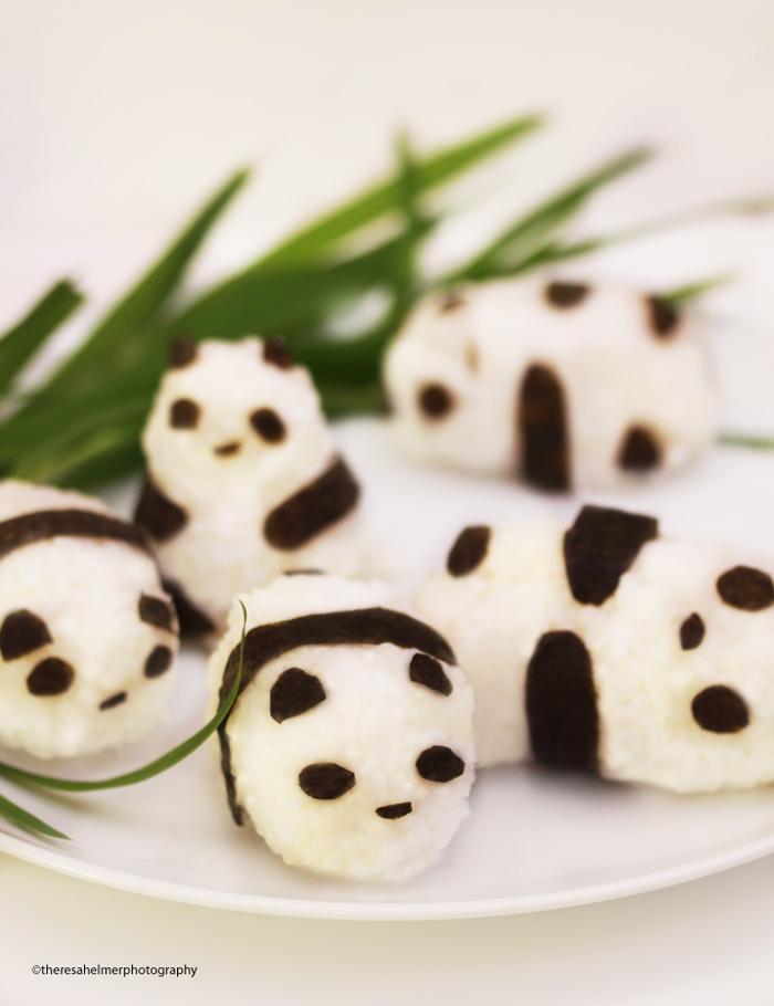 Panda Rice Balls Stuffed with Adzuki Bean Paste by theresahelmer