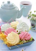 Meringue Cookies - Lemon, Strawberry n Mint Flavor by theresahelmer