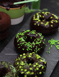 Baked Chocolate Donuts with Gnache
