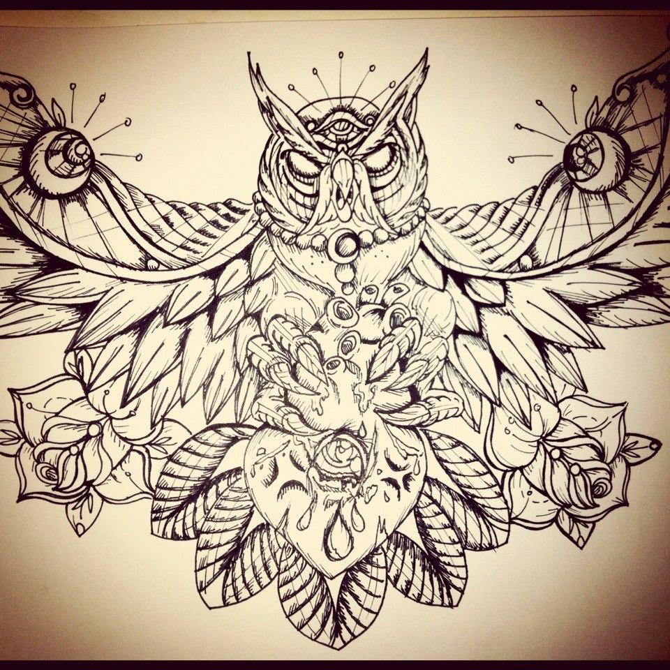 Owl Chest Piece by underlineage-designs on DeviantArt
