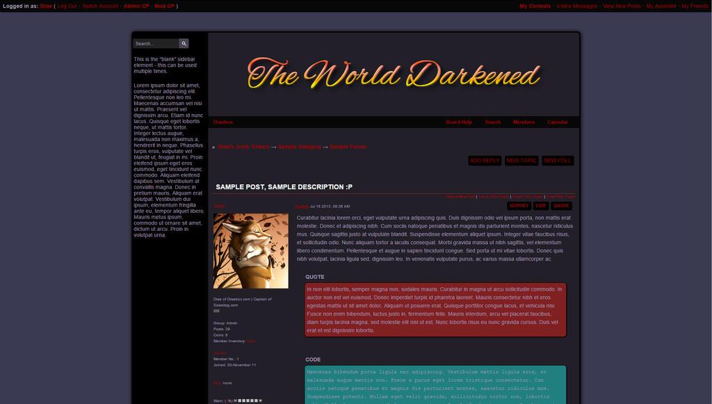The World Darkened Jcink Skin Thread View by Draebox