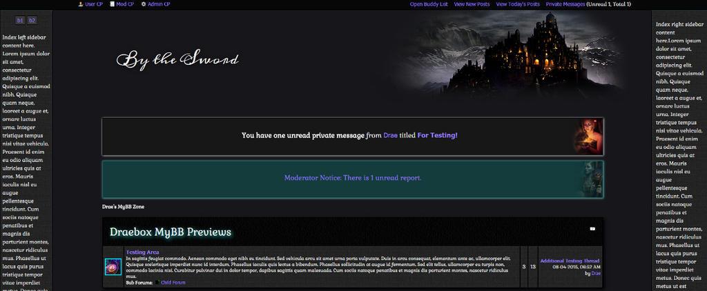 By the Sword RPG MyBB Theme by Draebox on DeviantArt