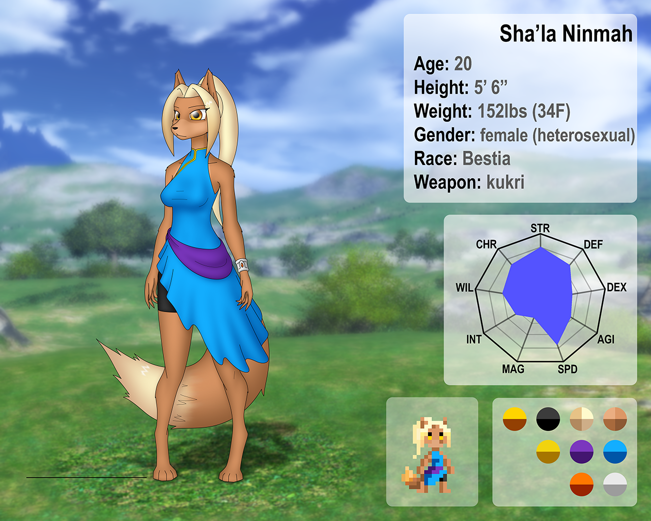 Sha'la Rom'eli character sheet by Nakate