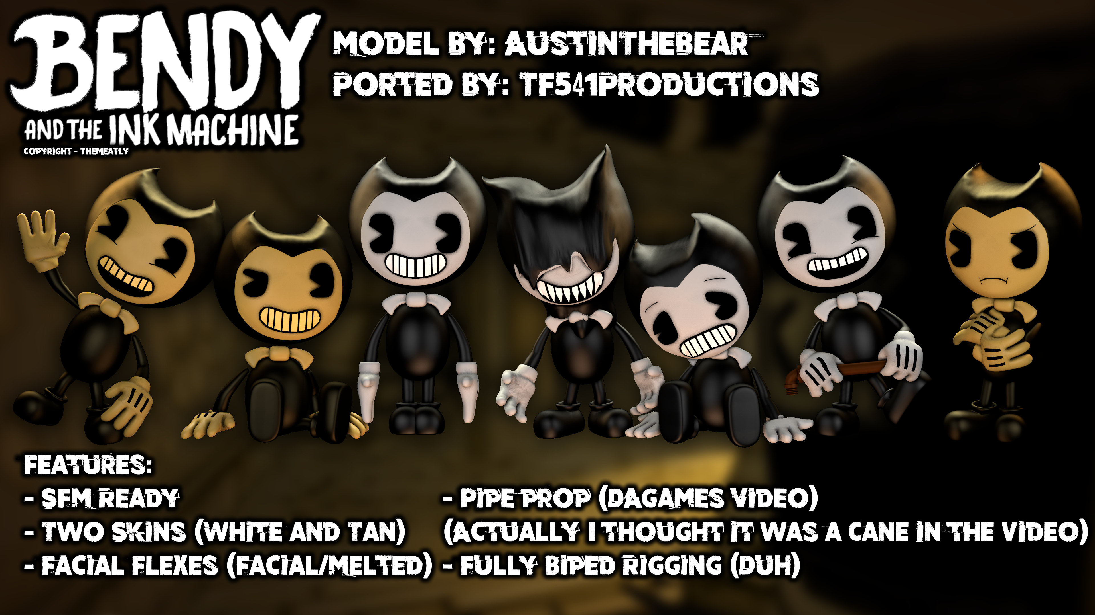 Bendy and The Ink Machine - Bendy Model Showcase by TF541Productions
