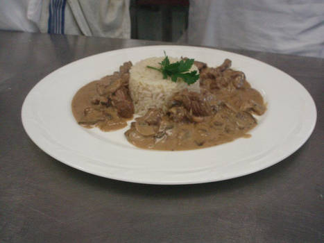 Saute of Beef Stroganoff with Pilau Rice by Lydjimon