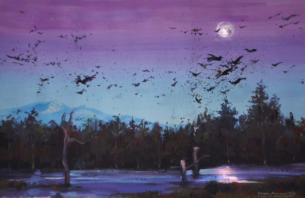 Ravens. Acid landscape. by SatynaPaper