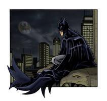 Batman over Gotham by Kminor