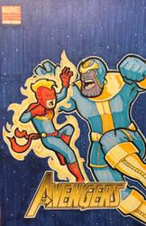 Captain Marvel vs. Thanos Sketch Cover