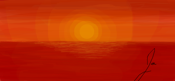 Sunset over the Sea by jaladams