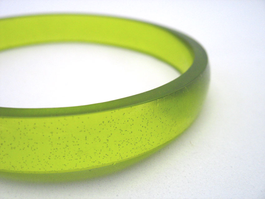 Lime green resin bracelet by TopazTurtle