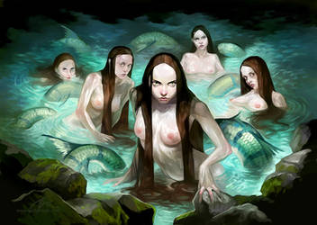 Cave mermaids by GuzBoroda