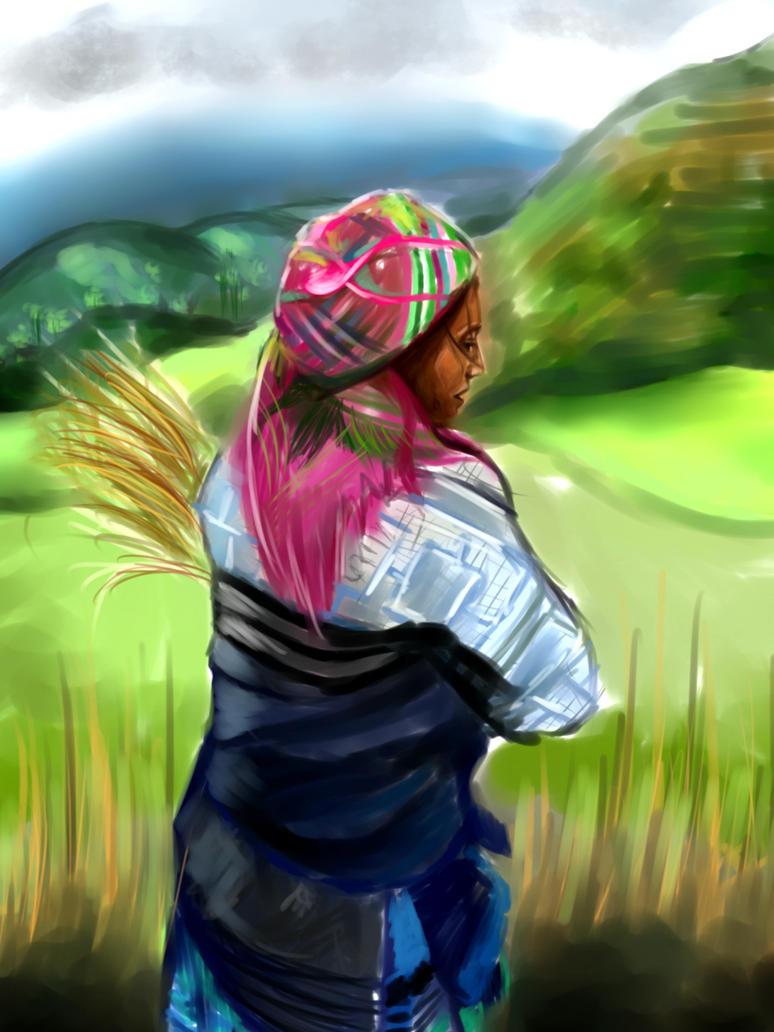 In the rice field by PufferfishCat