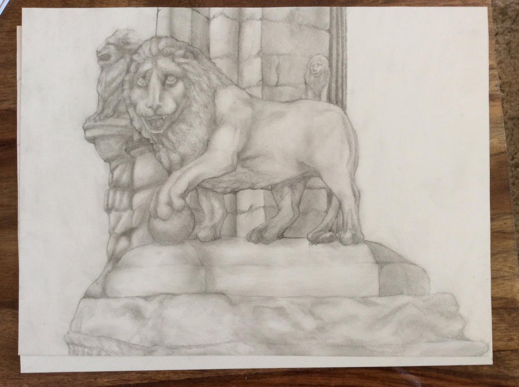 Lion Statue Graphite Drawing by Gargantuesk