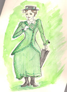 Mary Poppins in Green and Black