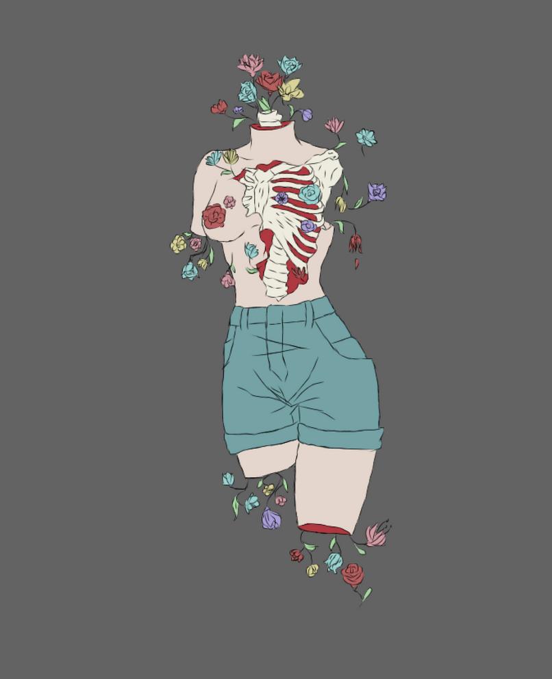 Bones and Flowers by WhatTheHellArt