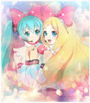 Hatsune Miku and Shinonome Megu in MIKULAND
