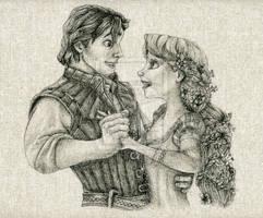 Flynn and Rapunzel Fabric Drawing