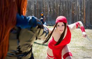 In your Sights - Black Widow vs. Elektra by SilverShadeCosplay
