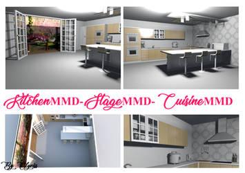 Kitchen MMD - Stage MMD - Cuisine MMD by Clyriss