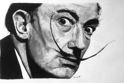 Salvador Dali charcoal portrait