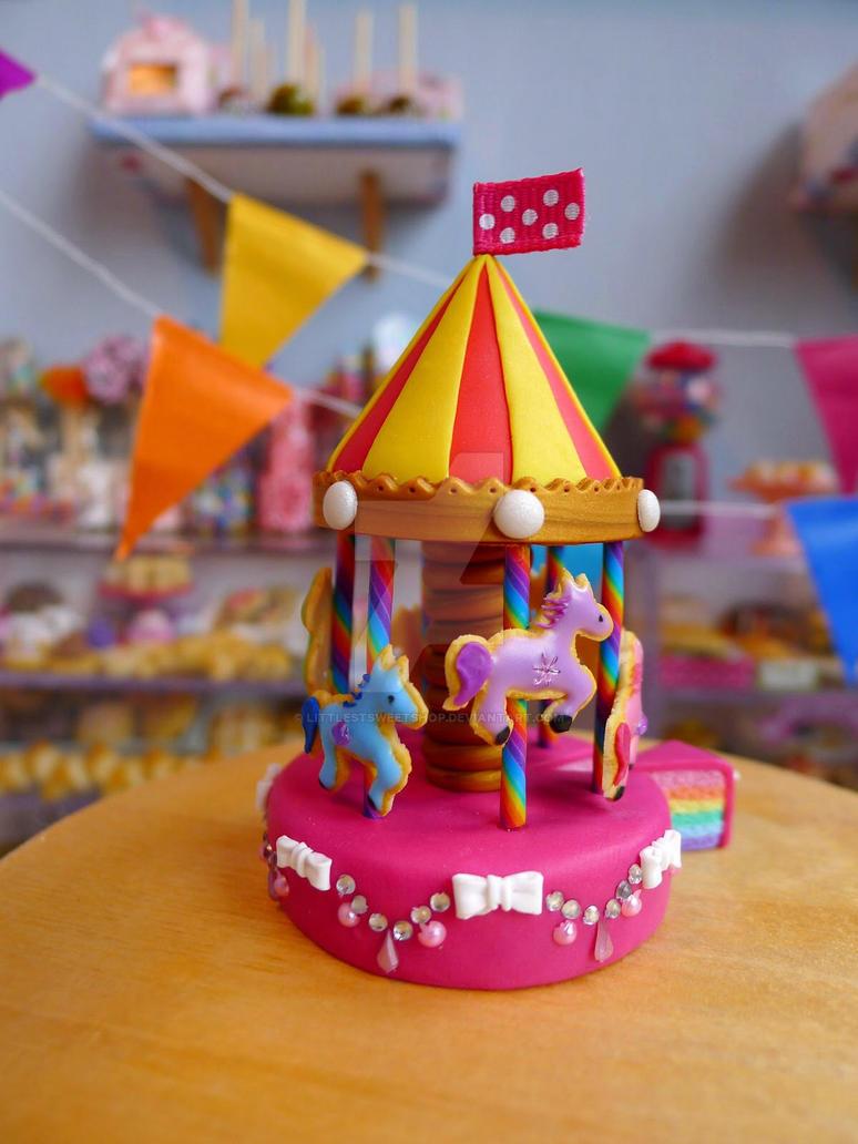 Rainbow carousel cake by LittlestSweetShop