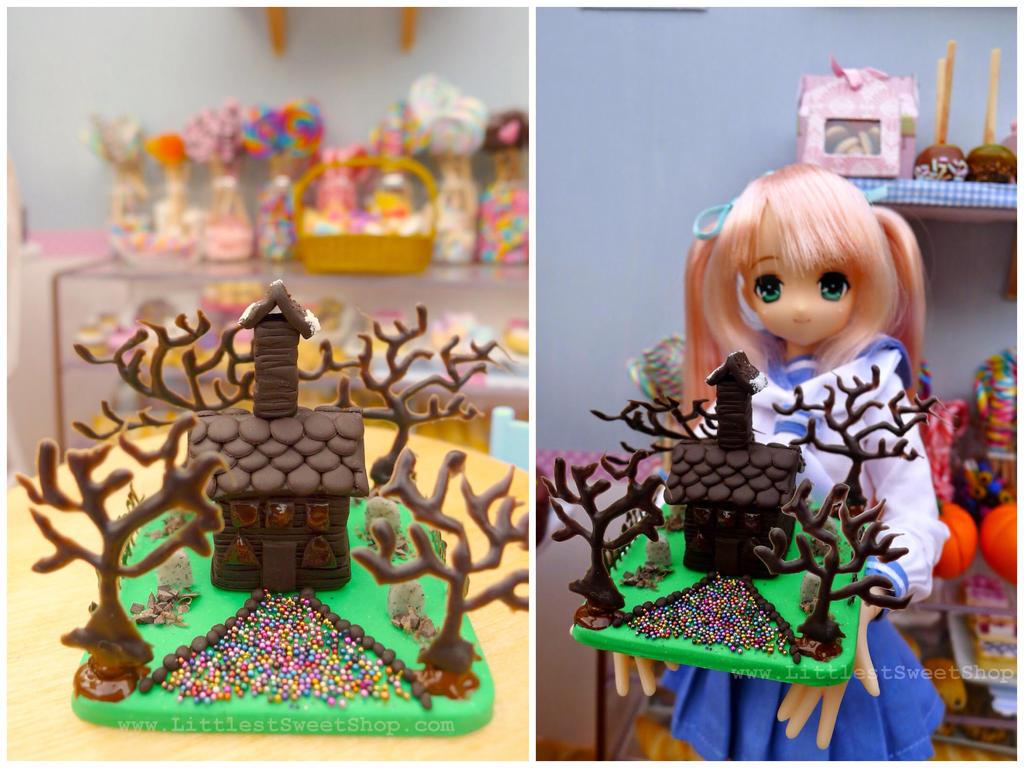 Dark chocolate haunted house by LittlestSweetShop