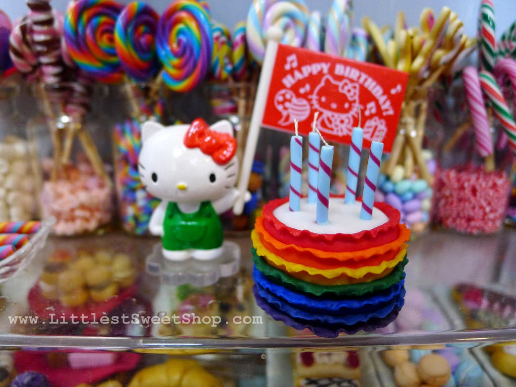 Rainbow ruffle cake miniature by LittlestSweetShop