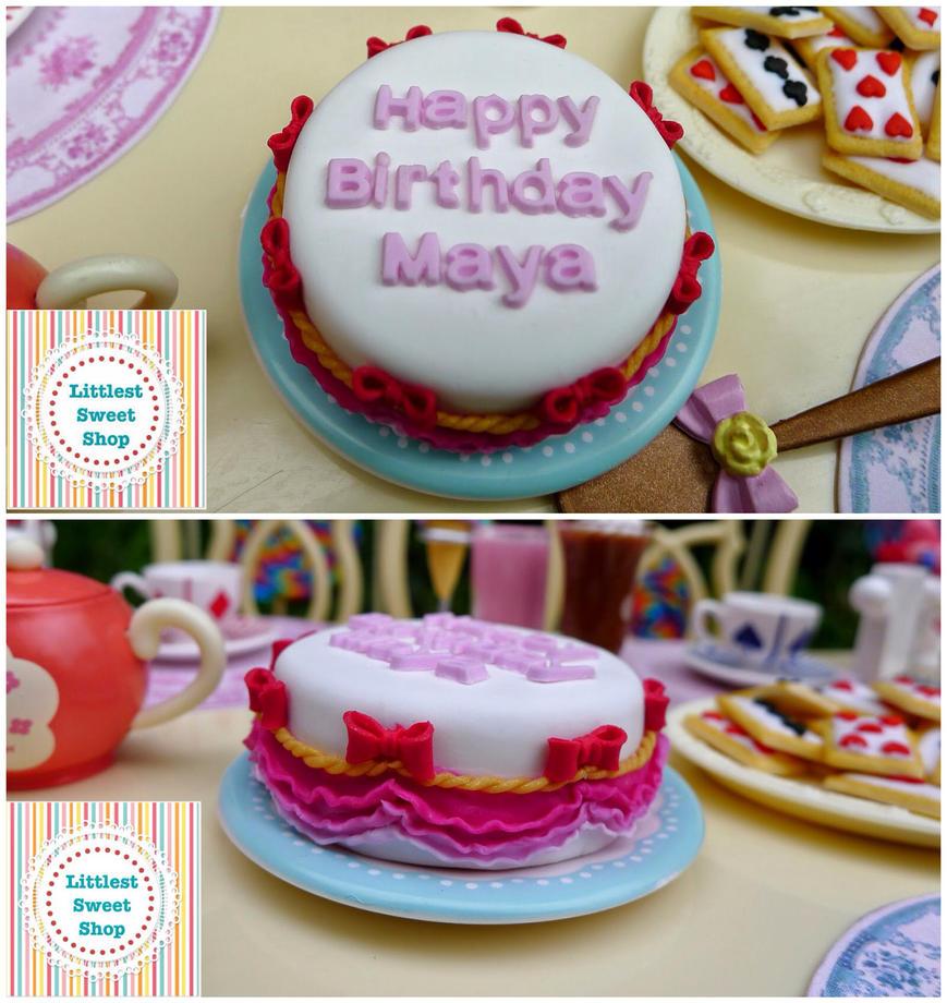 Happy Birthday miniature cake by LittlestSweetShop