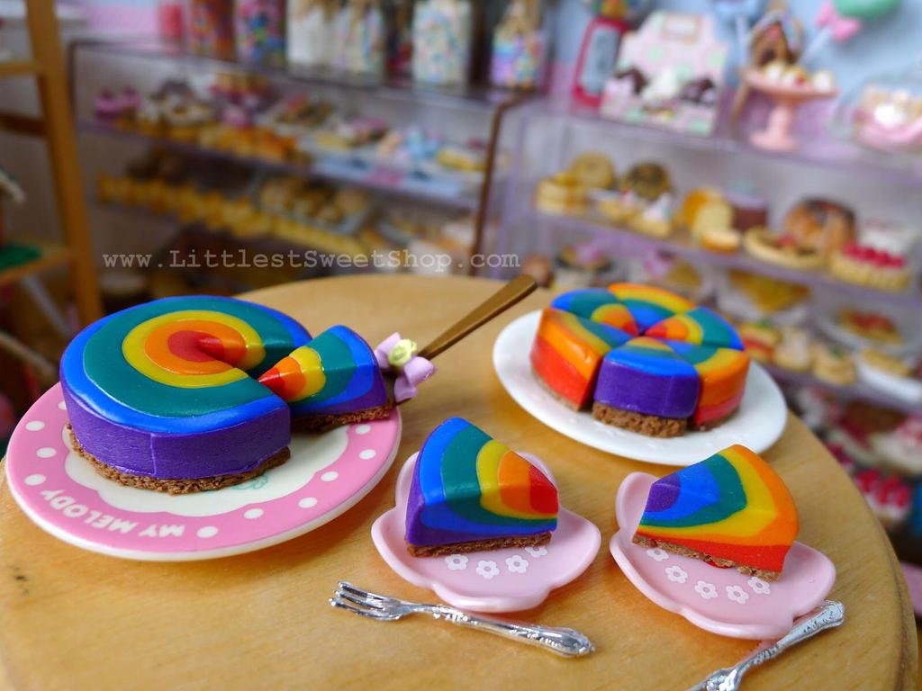 Rainbow cheesecake miniature by LittlestSweetShop