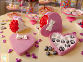 Polymer clay miniature Valentines Day candy box by LittlestSweetShop