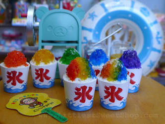 Rainbow Kakigori (Japanese shaved ice) miniatures by LittlestSweetShop