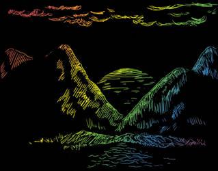 Digital Scratch Art - Sunset by CotangentFish