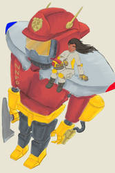 SketchThis - Giant Robot - Firefighting Mech by CotangentFish
